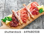 antipasto platter cold meat... | Shutterstock . vector #649680508