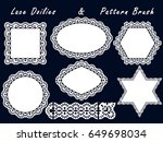 set of lace napkins and pattern ... | Shutterstock . vector #649698034