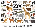 Stock vector zoo animals collection 649711870