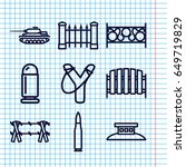 set of 9 defense outline icons... | Shutterstock .eps vector #649719829