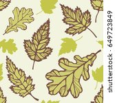 autumn leaves of oak and maple... | Shutterstock .eps vector #649723849