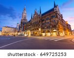 night panorama of marienplatz... | Shutterstock . vector #649725253