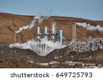 geothermal power plant in... | Shutterstock . vector #649725793