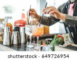 bartender preparing different... | Shutterstock . vector #649726954