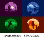 west landscapes set | Shutterstock .eps vector #649728328