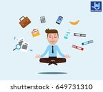 businessman sitting in... | Shutterstock .eps vector #649731310