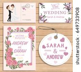 wedding invitation cards set | Shutterstock .eps vector #649733908