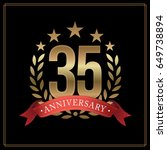 35 years golden anniversary... | Shutterstock .eps vector #649738894