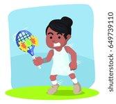 african female tennis player... | Shutterstock . vector #649739110