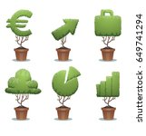 vector set of green bonsai... | Shutterstock .eps vector #649741294