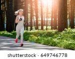 beautiful girl athletic build... | Shutterstock . vector #649746778