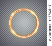 magic gold circle light effect. ... | Shutterstock . vector #649763548