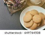 homemade bakery thin biscuits...   Shutterstock . vector #649764508