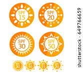 sun cream round orange labels... | Shutterstock .eps vector #649766659