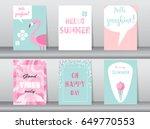 set of summer card on pattern...   Shutterstock .eps vector #649770553