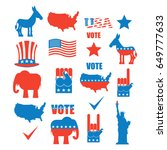 american elections icon set.... | Shutterstock . vector #649777633