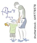 the father holds the little son ... | Shutterstock .eps vector #649778578