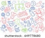 newborn infant themed cute... | Shutterstock .eps vector #649778680