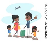 family trip  with a plane on... | Shutterstock .eps vector #649779370