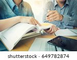 young students campus helps... | Shutterstock . vector #649782874