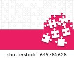 some white puzzles pieces pink... | Shutterstock . vector #649785628