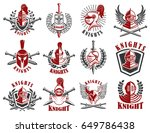 set of knight emblems. design... | Shutterstock .eps vector #649786438