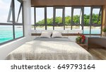 luxury bedroom looking out over ... | Shutterstock . vector #649793164