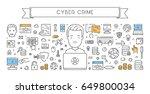 line web banner for cyber crime.... | Shutterstock . vector #649800034