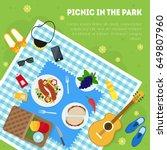 cartoon summer picnic in park...   Shutterstock .eps vector #649807960