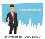 businessmen shaking hands and... | Shutterstock .eps vector #649812430