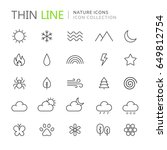 collection of nature thin line... | Shutterstock .eps vector #649812754