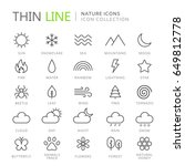 collection of nature thin line... | Shutterstock .eps vector #649812778