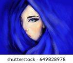 blue scarf. woman face. fashion ... | Shutterstock . vector #649828978