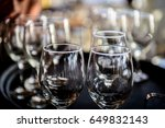 couple of glasses on restaurant ... | Shutterstock . vector #649832143