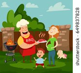 happy family at a barbecue... | Shutterstock .eps vector #649837828