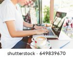 female working on laptop in a... | Shutterstock . vector #649839670