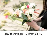 workshop florist  making... | Shutterstock . vector #649841596