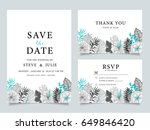 wedding invitation card  with... | Shutterstock .eps vector #649846420