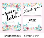 wedding invitation card  with... | Shutterstock .eps vector #649846444
