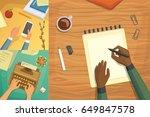 flat design top view on desk... | Shutterstock .eps vector #649847578