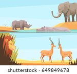 two horizontal wild animal... | Shutterstock .eps vector #649849678
