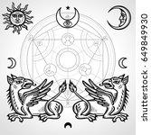 set of alchemical symbols  two... | Shutterstock .eps vector #649849930