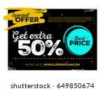 horizontal sale poster design.... | Shutterstock .eps vector #649850674