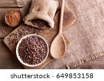 composition with cocoa nibs on... | Shutterstock . vector #649853158