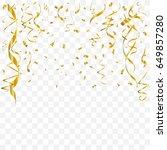 gold confetti and ribbon... | Shutterstock .eps vector #649857280