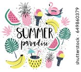 summer paradise poster with... | Shutterstock .eps vector #649860379