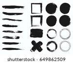 set of black paint  ink brush... | Shutterstock .eps vector #649862509