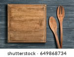 wooden board and cooking... | Shutterstock . vector #649868734
