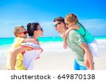 young family on vacation on the ... | Shutterstock . vector #649870138