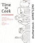 vintage background   kitchen... | Shutterstock .eps vector #649871290